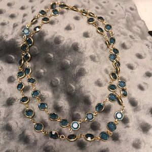 "Blue and Gold 34"" Necklace"